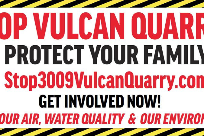 4 x 8 Stop Vulcan Quarry Yard Sign. Comal County, Bulverde, New Braunfels, Garden Ridge, Spring Branch.