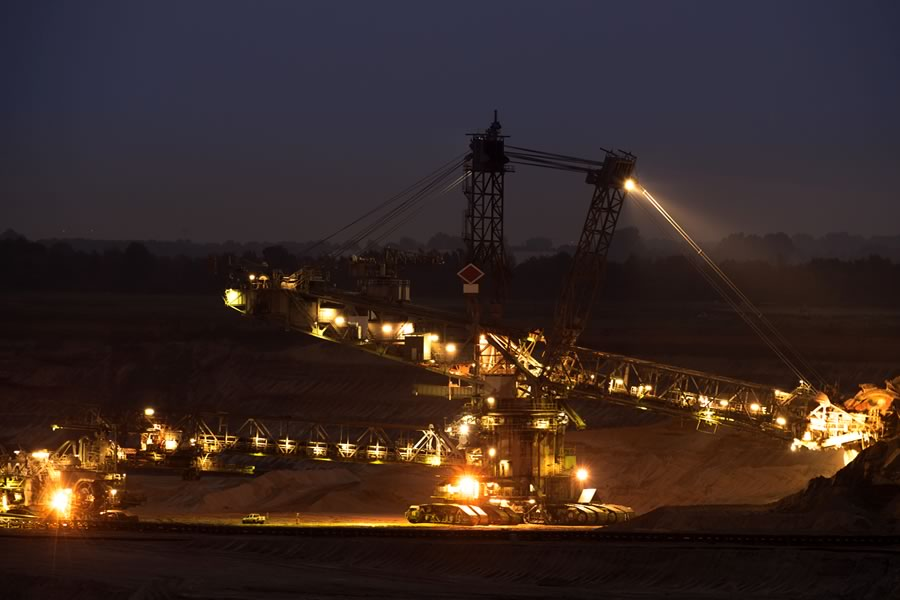 Light pollution from machinery operating during night hours