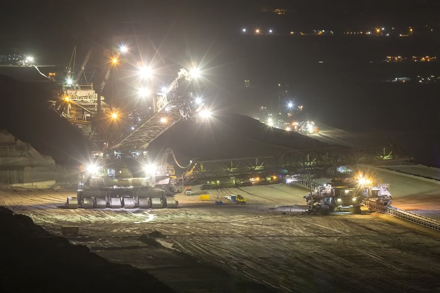 Quarry operation at night, light pollution
