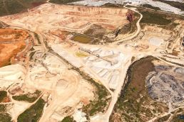 An aerial view of the Vulcan Materials gravel quarry, very similar to the proposed Comal County Vulcan quarry