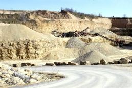 Rock and gravel mining and crushing quarry