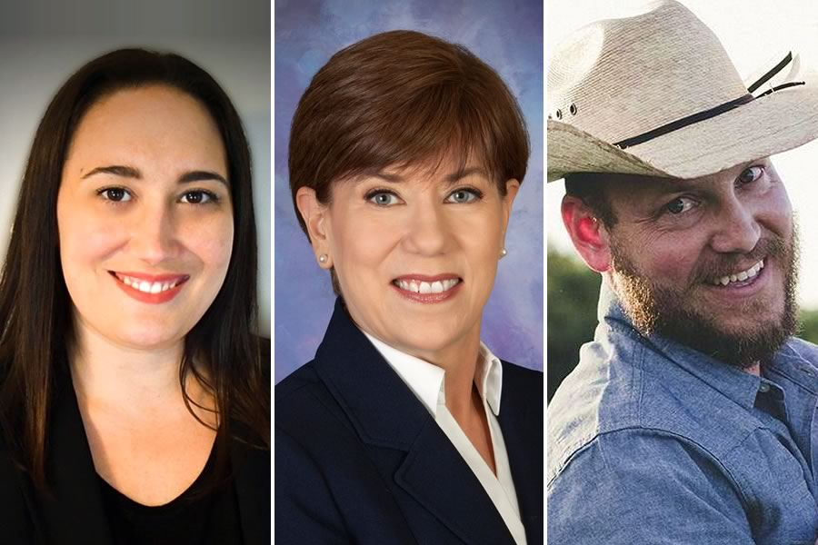 2020 General Election candidates for Comal County Commissioner, Precinct 1: Lindsay Poisel (left), Donna Eccleston (center), Ivan Foster (right)